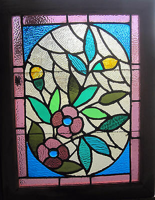 ~ Gorgeous Antique American Stained Glass Windows Floral ~ Architectural Salvage