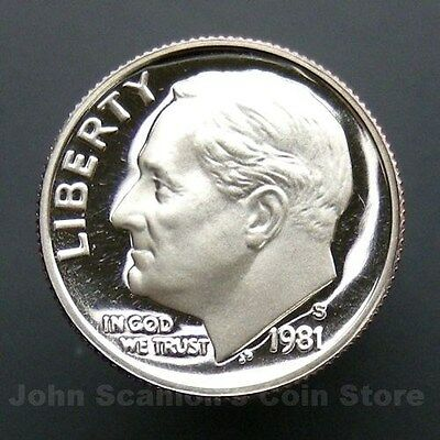 1981 S Roosevelt Dime Type 2 Second S Gem Deep Cameo CN-Clad Proof Coin