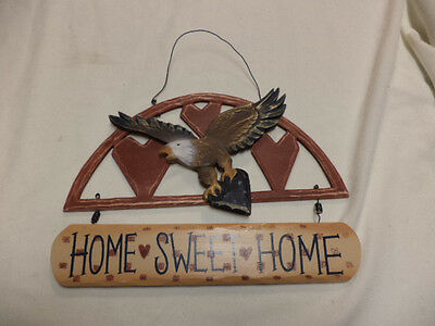 "NEW-Wooden Patriotic Bald Eagle ""Home Sweet Home"" Wall Hanger"