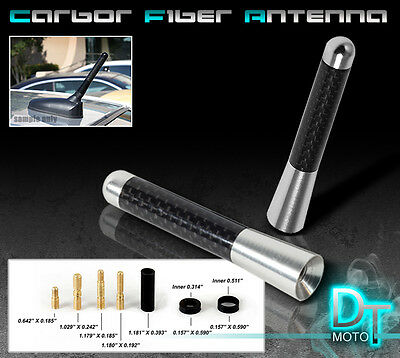 "SILVER 3"" INCH REAL CARBON FIBER ANTENNA STUBBY BILLET ALUMINUM FOR CAR & TRUCK"