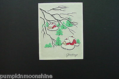 #D308- Vintage Volland Xmas Greeting Card Pretty Winter Image of Red Houses