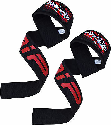 Auth RDX Padded Weight Lifting Pro Straps Hand Wrist Brace Bar Training Gym CA