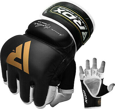 RDX Leather Gel Tech MMA Grappling Gloves Fight Boxing Punch Bag C