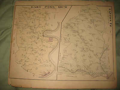 ANTIQUE 1876 EAST PIKE RUN CANTON TOWNSHIP WASHINGTON COUNTY PENNSYLVANIA MAP NR