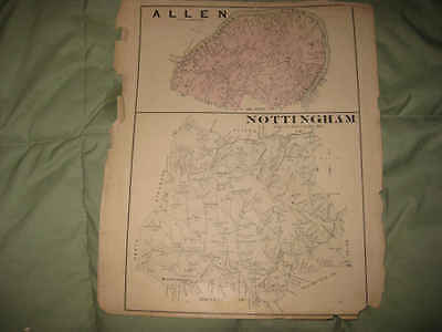 ANTIQUE 1876 ALLEN NOTTINGHAM TOWNSHIP WASHINGTON COUNTY PENNSYLVANIA MAP NR