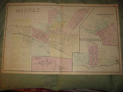 Antique 1876 Midway Eldersville Taylorstown Washington County Pennsylvania Map N