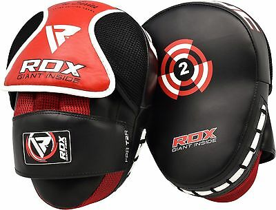 RDX Leather Focus Pads Hook and Jab Boxing Muay Thai Curved Mitts Punching MMA C