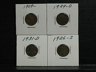 (4) Assorted Wheat Pennies-Nice Specimens -Free Ship..