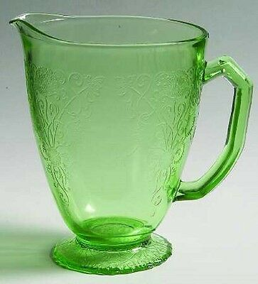 """Green Florentine # 1 Pitcher 6½"""" Tall With Foot 36 oz."""