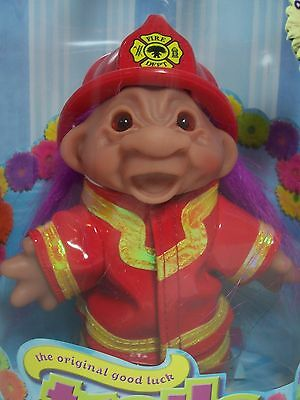 """FIREMAN / FIREFIGHTER - 5"""" DAM Troll Doll - NEW IN CONTAINER"""