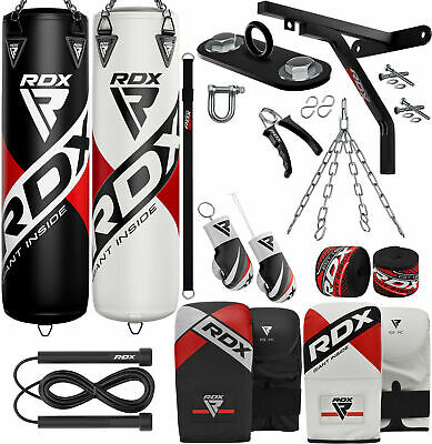 RDX 5FT / 4FT Heavy Filled Punch Bag Set,Boxing Gloves MMA Punching Muay Thai VB