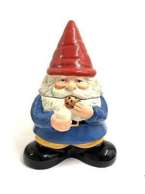 27cm GNOME COOKIE JAR CHEEKY GNOME MUKNCHING COOKIE