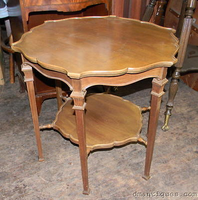 Antique Elegant French Style Solid Chestnut Scalloped Lamp Hall Occasional Table