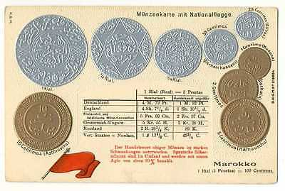Morocco Moroccan Coins & National Flag on German Ad PC