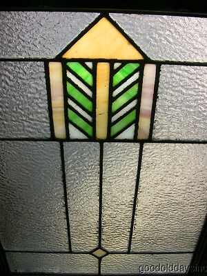 "Nice Antique Chicago Arts & Crafts Stained Leaded Glass Window 29"" t by 21"" w"