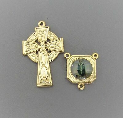 Rosary CENTER & CRUCIFIX Italy St. Saint Patrick Celtic Cross Set B finish GOLD