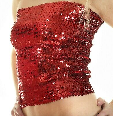 Sequin Stretch Tube Top Skirt Glitter Disco Retro Sparkly Boob Bandeau Clubwear