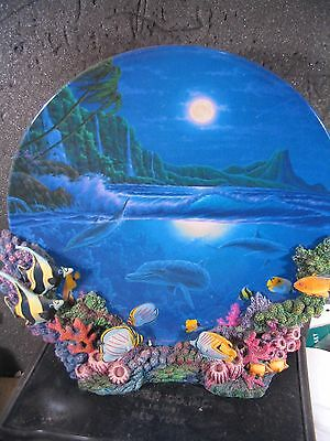 1996 MOONLIGHT PARADISE Colors of the Sea Dolphin Fish Ltd Ed Plate w/ Stand