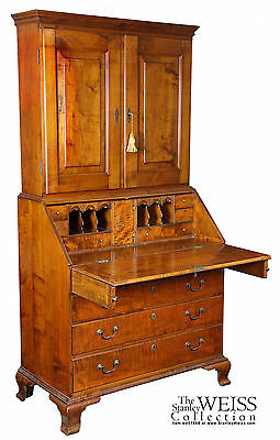 SWC-Chippendale Tiger Maple Bookcase Desk, Newport c1780