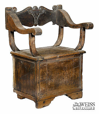 SWC-Italian Renaissance Carved Cabinet Chair, 15th/16th Cen