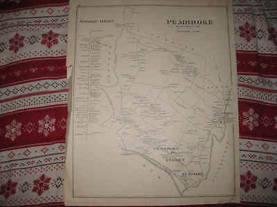 Huge Antique 1892 Pembroke & Street Suncook Village New Hampshire Map Rare Nr