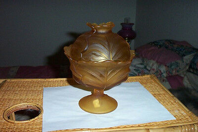 l g wright amber cabbage covered dish with lid on stem