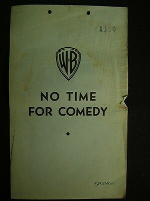 1940 James Stewart Rosalind Russell No Time For Comedy Original Movie Script RA1