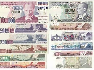 TURKEY 7.th EMISSION 1982-2002 ALL UNC SET 12 PCS - 10 TO 1.000.000 TL