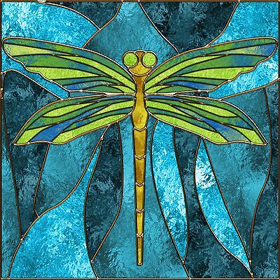 Stained Glass Dragonfly Image Coasters Set Of 4 Fabric Top / Rubber Backed
