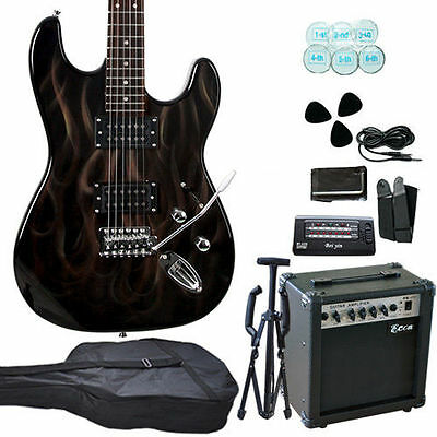 Flames Multiple Pickup Electric Guitar With Amp Set