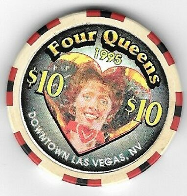 Four Queens Hotel $10.00 Showgirl Heart Casino Chip Las Vegas Nevada