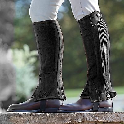 Shires Equestrian Synthetic Suede Adult Riding Chaps Black Large