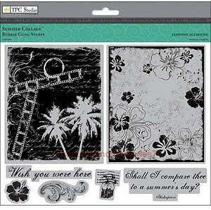 TPC STUDIO Rubber Cling Stamps SUMMER COLLAGE   WISH YOU WERE HERE