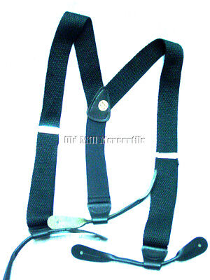 Old West re-enactment cotton  mens button suspenders leather ends Made in USA