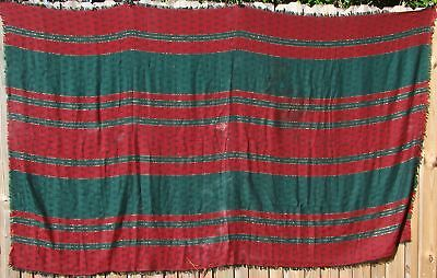 VINTAGE Jacquard HOLIDAY TABLECLOTH 100x60 Red Grn & Gold -- BAD Picture