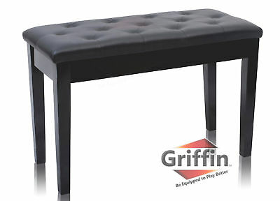 Black Leather Piano Bench Ebony Wood Double Duet Keyboard Seat Storage Griffin