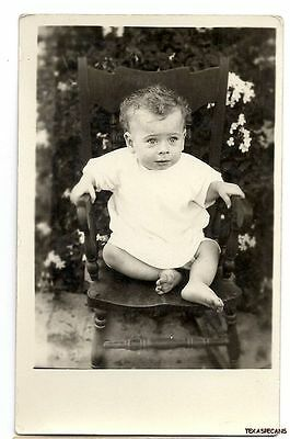 pc278, CUTE BABY IN CHILD'S ROCKING CHAIR REAL PHOTO POSTCARD