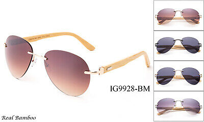 Aviator Sunglasses Bamboo Wood Classic Vintage Retro Large Lenses UV Protection