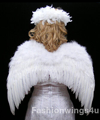 FashionWings (TM) Adult Unisex Classic White Costume Feather Angel Wings & Halo