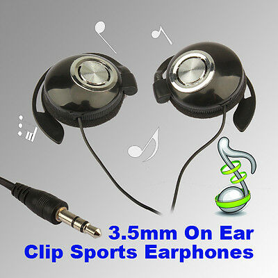 Black Sport Earphones Clip on Ear Sport Headphones Earphone For MP3 MP4 Player