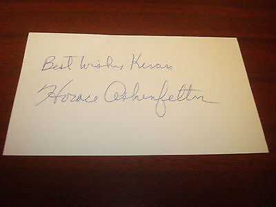 Horace Ashenfelter 1952 Olympic Gold Signed 3x5 Index Card Authentic Auto M7