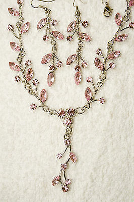 jewelry set pink crystal necklace earrings silver tone matching set