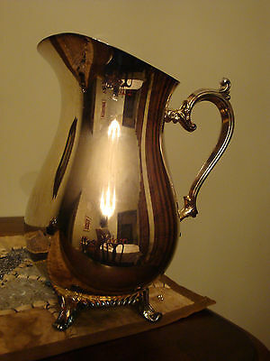 WM Roger Silverplate Footed  Water Pitcher With Ice Guard
