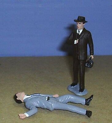 TOY SOLDIERS METAL 1930'S AMERICAN CRIME INVESTIGATOR & VICTIM 54MM