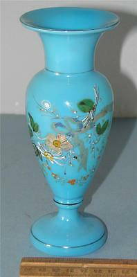 ANTIQUE VICTORIAN FRENCH BLUE OPALINE HAND PAINTED ENAMEL FLORAL   VASE