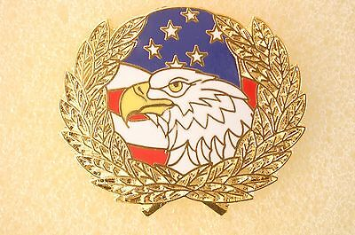 US USA American Flag Eagle Wreath Patriotic Hat Lapel Pin