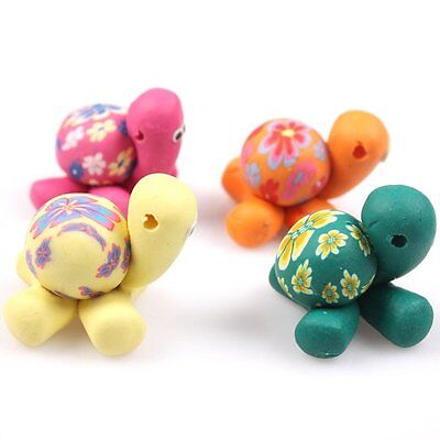 15x Bulk Cartoon Colorful Flowered Tortoise Style FIMO Polymer Clay Spacer Beads