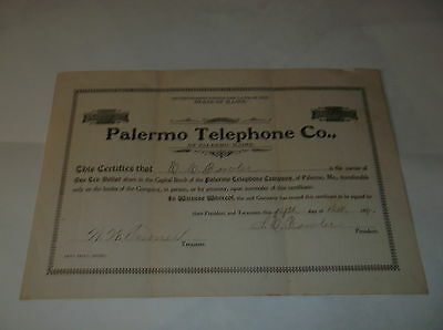 Rare Telephone&telegraph Co. Stock Certificate, 1917 Palermo Telephone Co. Maine