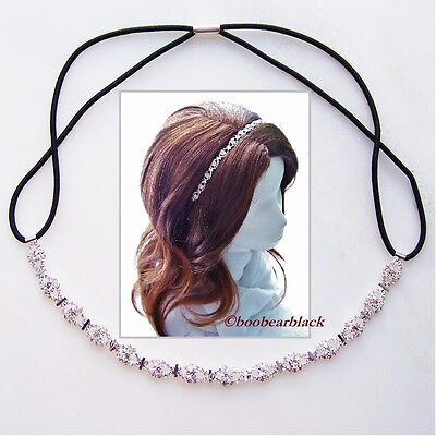 Rhinestone Mini Stud Accent Hair Band Headband Bridal Headpiece Prom Dancer