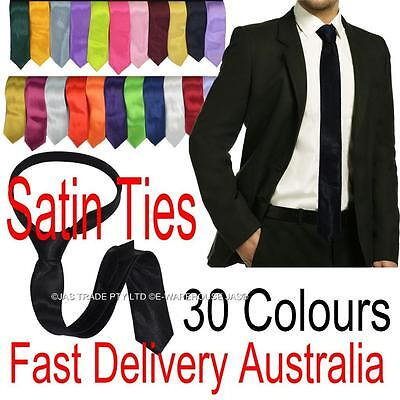 Men Bright Color Satin Skinny Wedding Formal Church Party Dance Costume Neck Tie